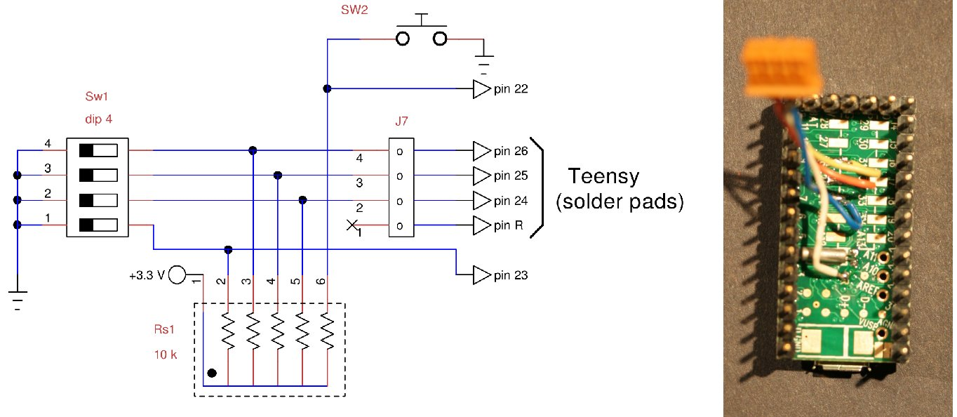 the following figure shows the wiring diagram of dip switch and pull up resistors mounted on the breadboard the sw2 button is not used in this project  [ 1364 x 594 Pixel ]