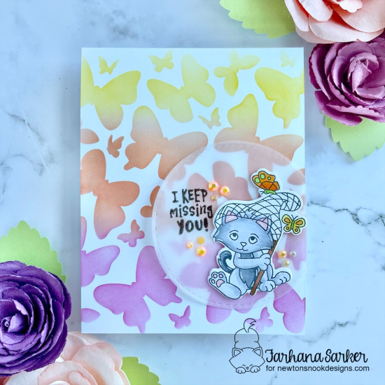 Missing You Kitty card by Farhana Sarker | Captivated Kittens Stamp Set, Butterflies Stencil Set, and Circle Frames Die Set by Newton's Nook Designs #newtonsnook