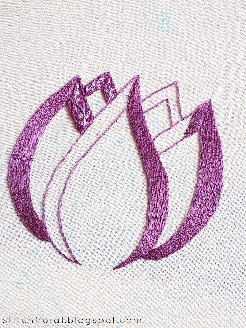 Needlepainting tips: filling a shape with long and short stitch