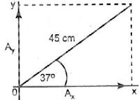 Sebuah vektor panjangnya 45 cm dan membentuk sudut 37° terhadap sumbu x positif