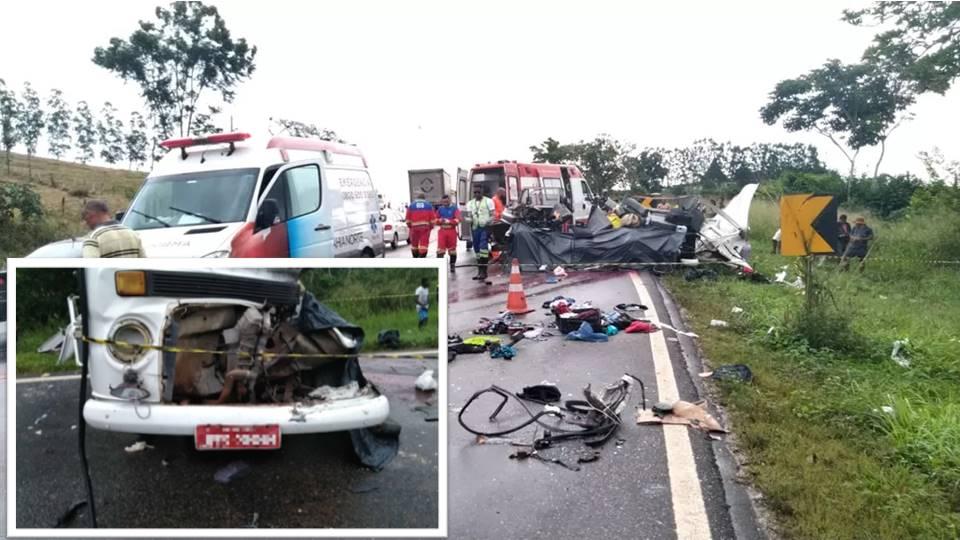Batida entre caminhão e Kombi deixa 4 mortos em rodovia da Bahia