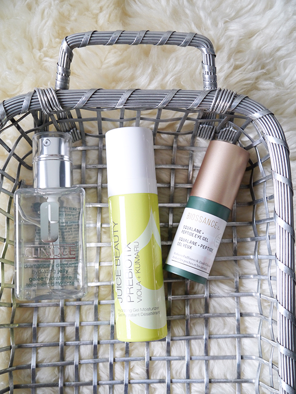 Clinique Dramatically Different Hydrating Jelly, Juice Beauty Prebiotix Viola + Kumaru Hydrating Gel Moisturizer, Biossance Squalane + Peptide Eye Gel