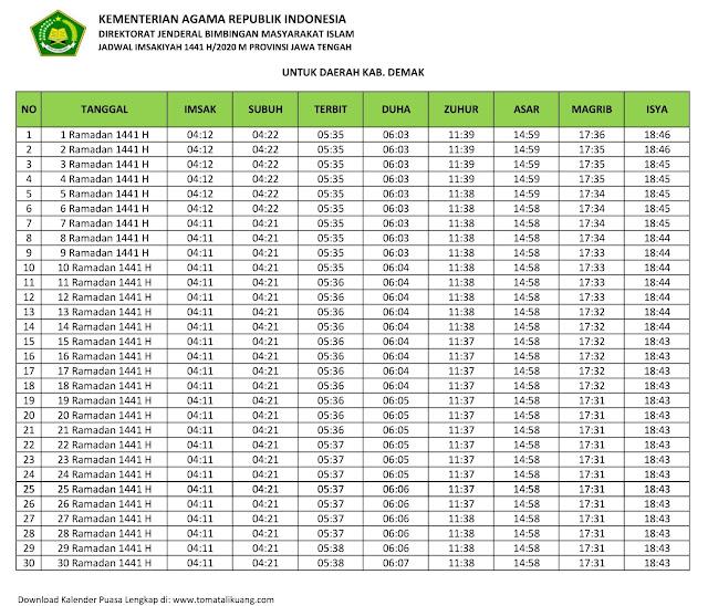 jadwal imsak waktu buka puasa kabupaten Demak 2020 m ramadhan 1441 h tomatalikuang.com