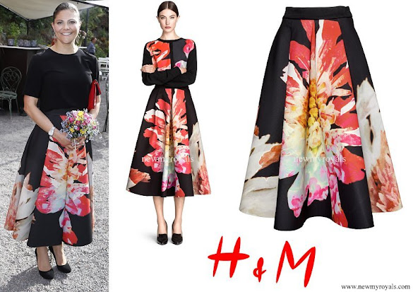 Crown Princess Victoria wore H&M Flower Bell-Shaped Skirt
