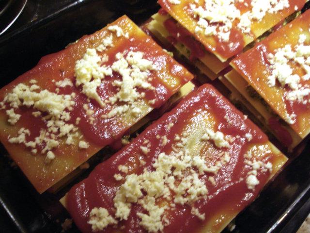 lasagna topped with mozzarella