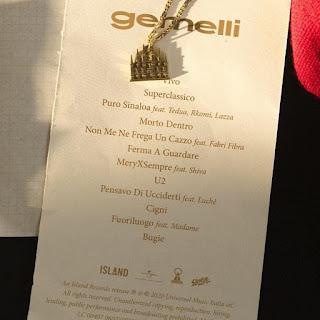 "La tracklist di ""Gemelli""."