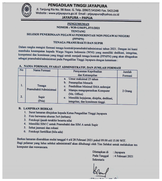SMA Tenaga PPNPN Pengadilan Tinggi Februari 2021