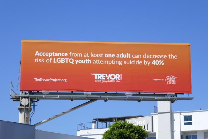Trevor Project LGBTQ youth James Corden billboard