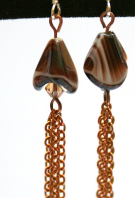 Fluid elegance: glass flower, swarovski, copper, sterling silver earwires, ooak earrings :: All Pretty Things
