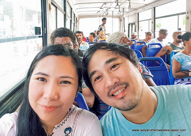 Lady and Ed in Mahe Seychelles public bus