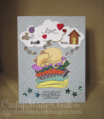Shelter kitty Newton dreaming of a home by Crafty Math Chick | Newton's Naptime by Newton's Nook Designs