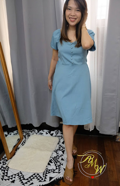 Style series work from home little blue dress
