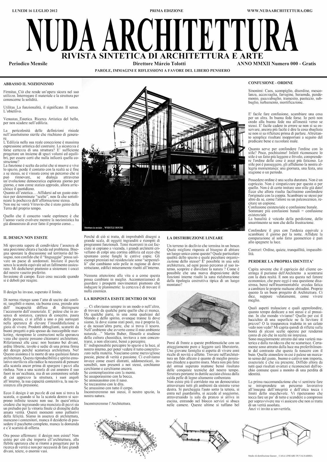Nuda Architettura dell'Architetto Marcio Tolotti