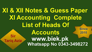 XI Accounting  Complete List of Heads Of Accounts