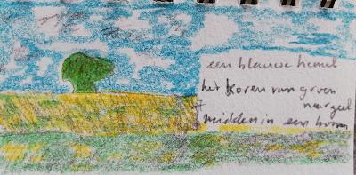 Boom in korenvelden, tekening en haiku