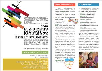 Didattica della musica, conservatorio potenza, formazione insegnanti di musica, iscrizione 2016