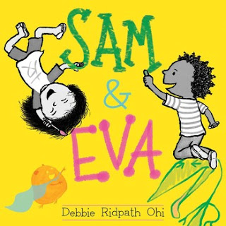 cover for Sam & Eva shows two children smiling and holding drawing tools on a bright yellow background