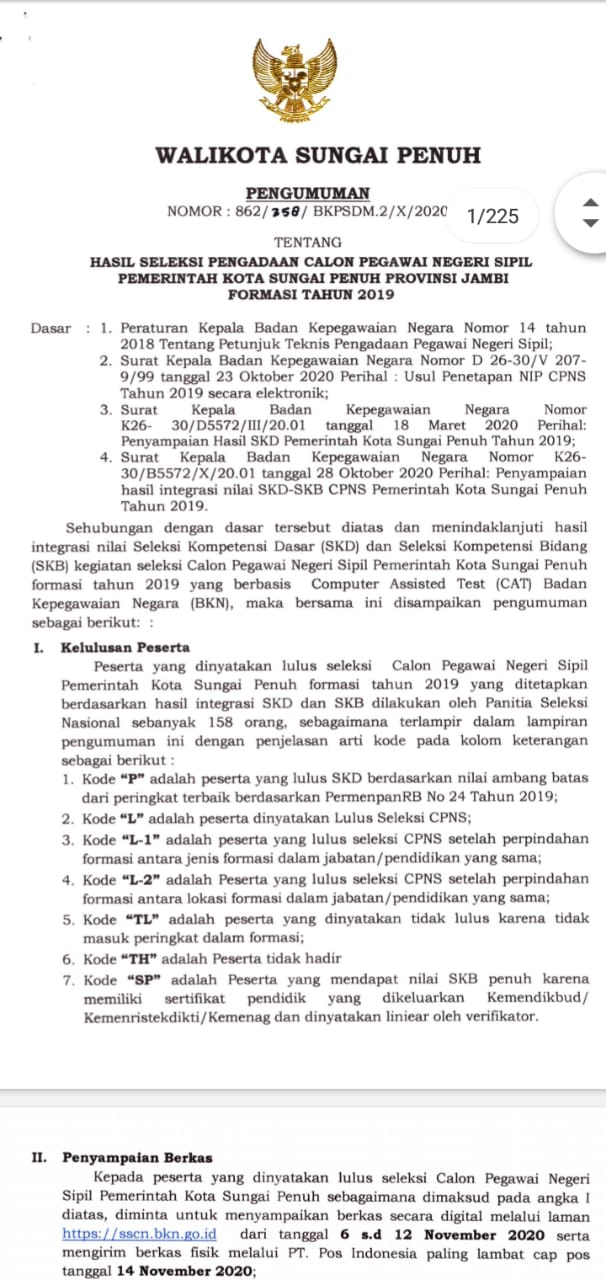 Resmi Diumumkan, Berikut Nama-nama Yang Lulus Tes CPNS Sungai Penuh 2019