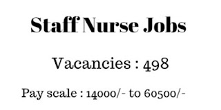 498 Staff Nurses Recruitment with the pay Scale of 14,000-'60,500 Per month