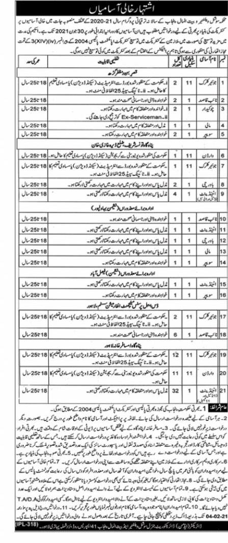 Punjab Social Welfare and Bait-ul-Maal Jobs Advertisement 2021