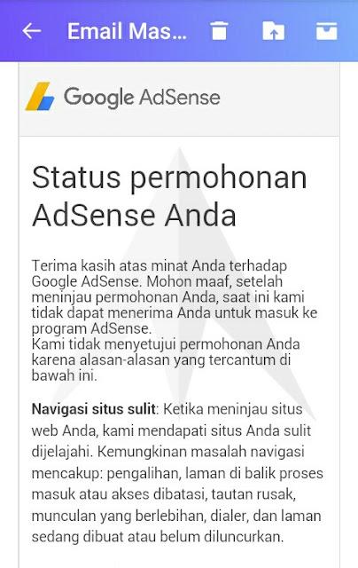 Email balasan Navigasi sulit ditolak google adsense