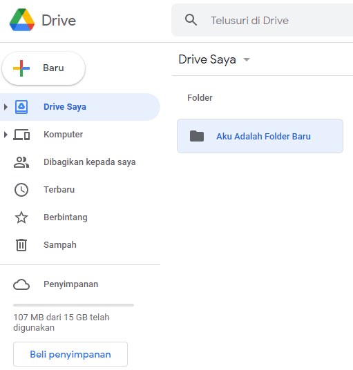 Berhasil Membuat Folder Baru di Google Drive