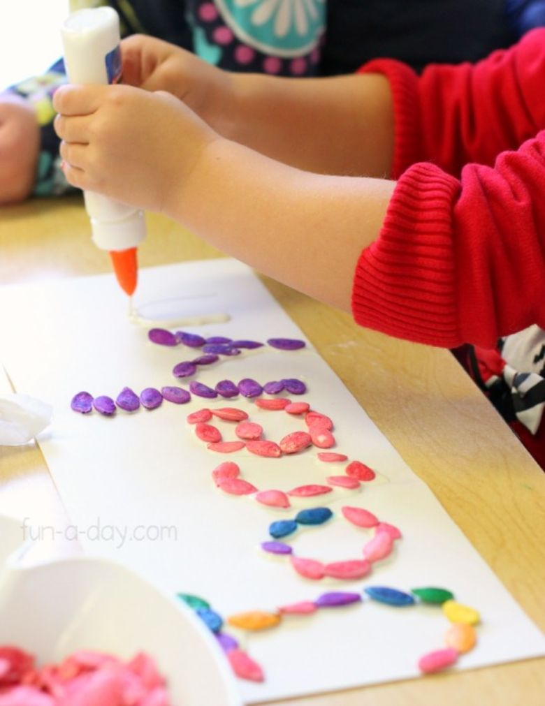 Pumpkin seed name activity for kids