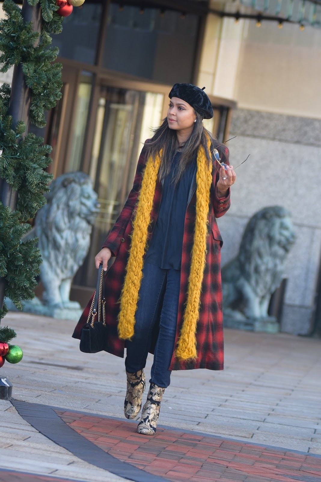top trends from 2017 that will stay strong in 2018, berets, beret hat, velvet booties, mustard yellow scarf, plaid jacket, sequin booties, gucci marmont bag