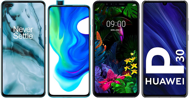 OnePlus Nord 5G vs Xiaomi Poco F2 Pro vs LG G8 Smart Green Thinq vs Huawei P30
