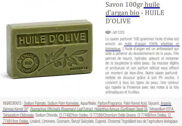 savon à l'huile d'olive composition douteuse