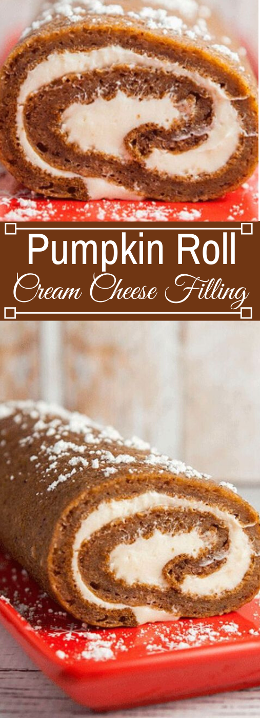 Pumpkin Roll With Cream Cheese Filling #pumpkin #desserts #cakes #snack #easy