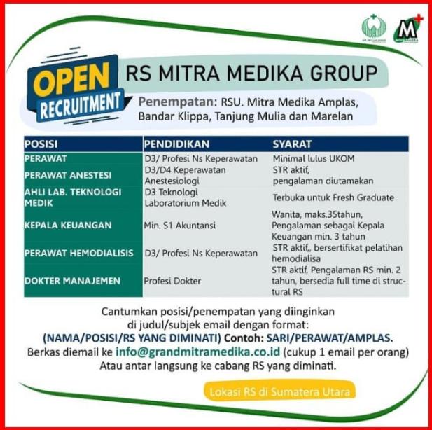 Lowongan Kerja Medan D3 D4 S1 Juli 2021 RSU Mitra Medika Tanjung Mulia