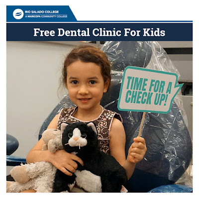 Poster for event, featuring a little girl in a dental chair with stuffed animals holding a sign that reads: time for a check up