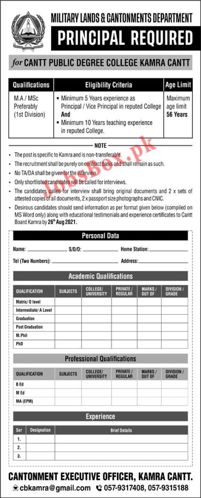 Cantt Public Degree College Kamra Cantt Jobs 2021