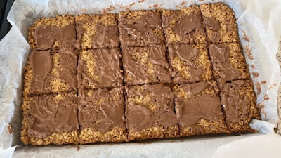 Flapjack tray with melted chocolate