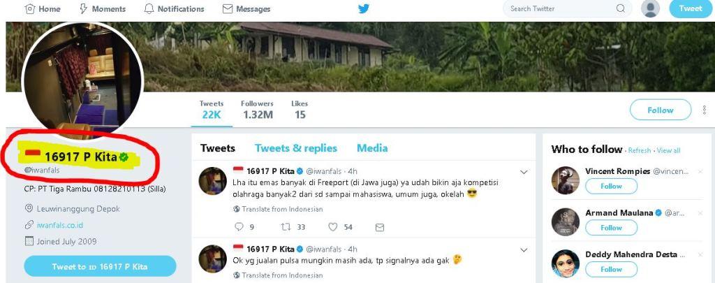 Twitter resmi Iwan Fals