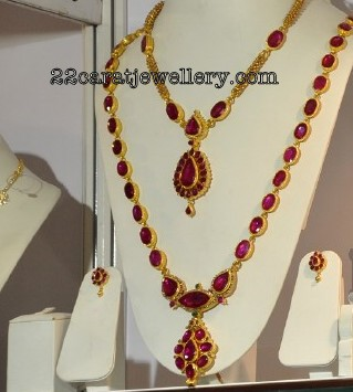 Ruby Long Chain Studded With Round And Oval Light Color