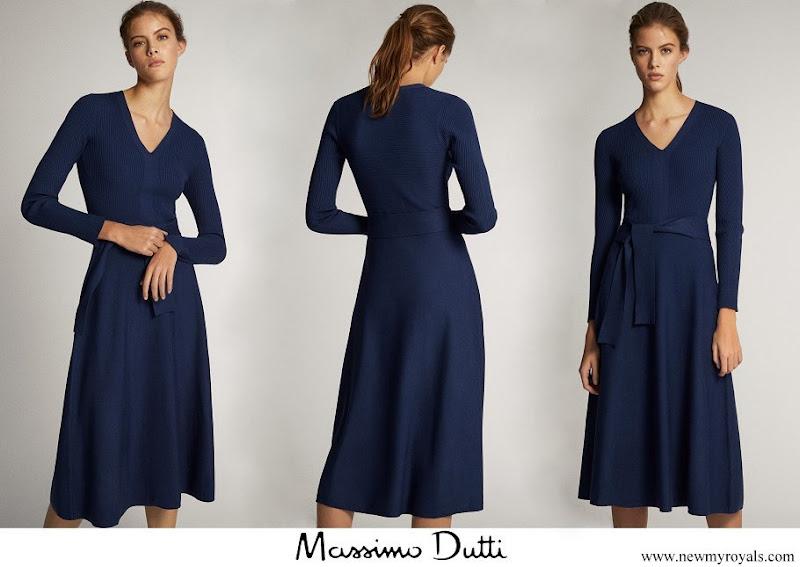 Queen Letizia wore Massimo Dutti V-neck Dress
