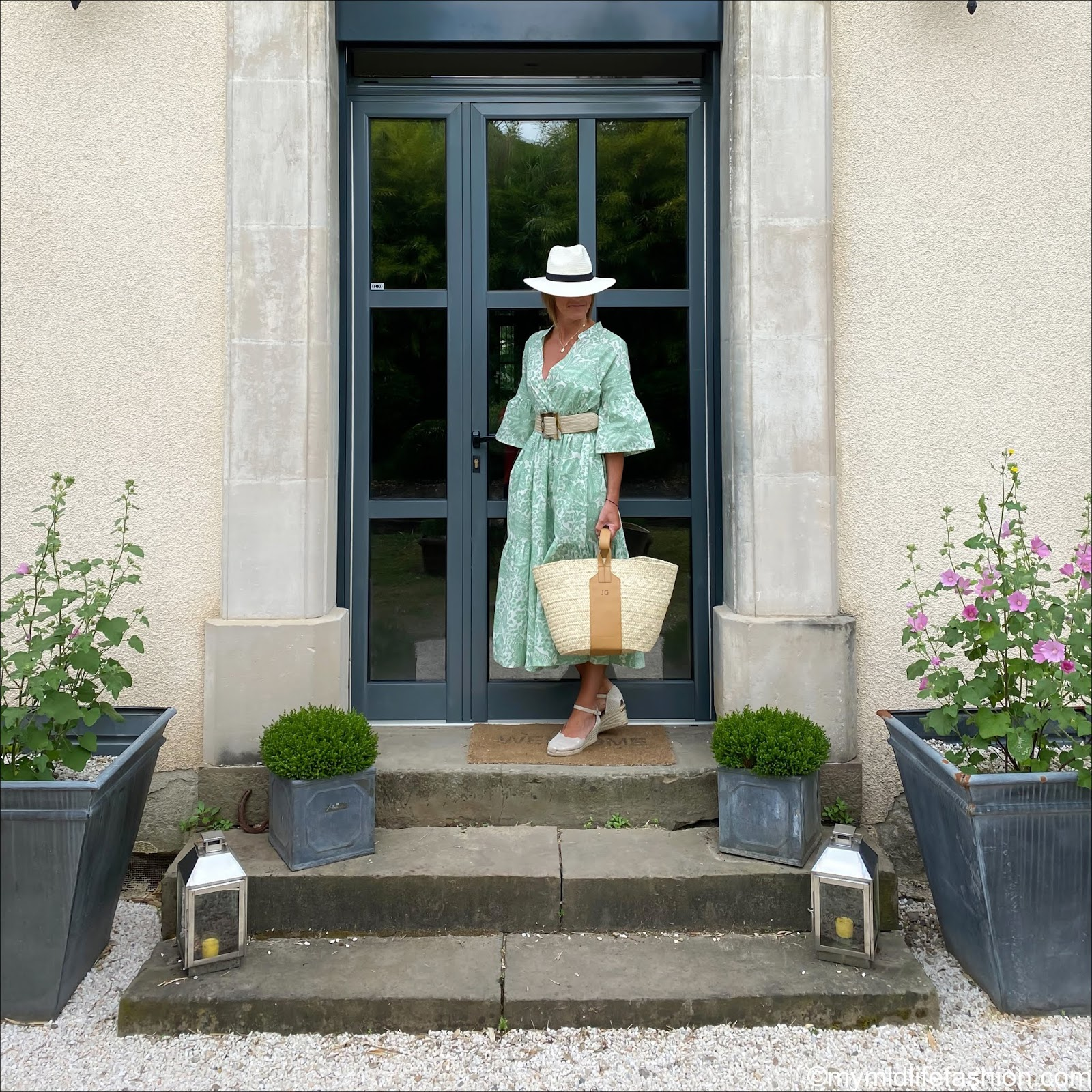 my midlife fashion, Beaumont organic tulsi organic cotton dress, Carl Scarpa Brittany nude sandals, rae feather monogram grace basket, zara Panama hat, zara jute belt