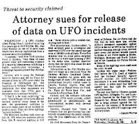 Attorney Sues for Release of Data on UFO Incidents – The News 10-28-1981