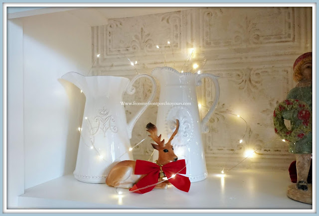 French -Farmhouse- Cottage- White- Dining -Room- Cabinet-Christmas-Shelf- Vignettes-Vintage-Style-From My Front Porch To Yours
