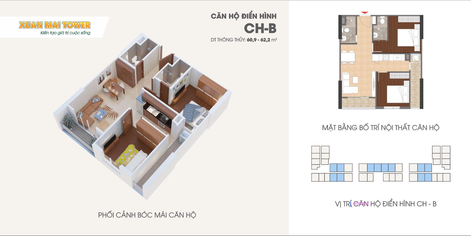Căn hộ điển hình CH-B dự án Xuân Mai Thanh Hoá