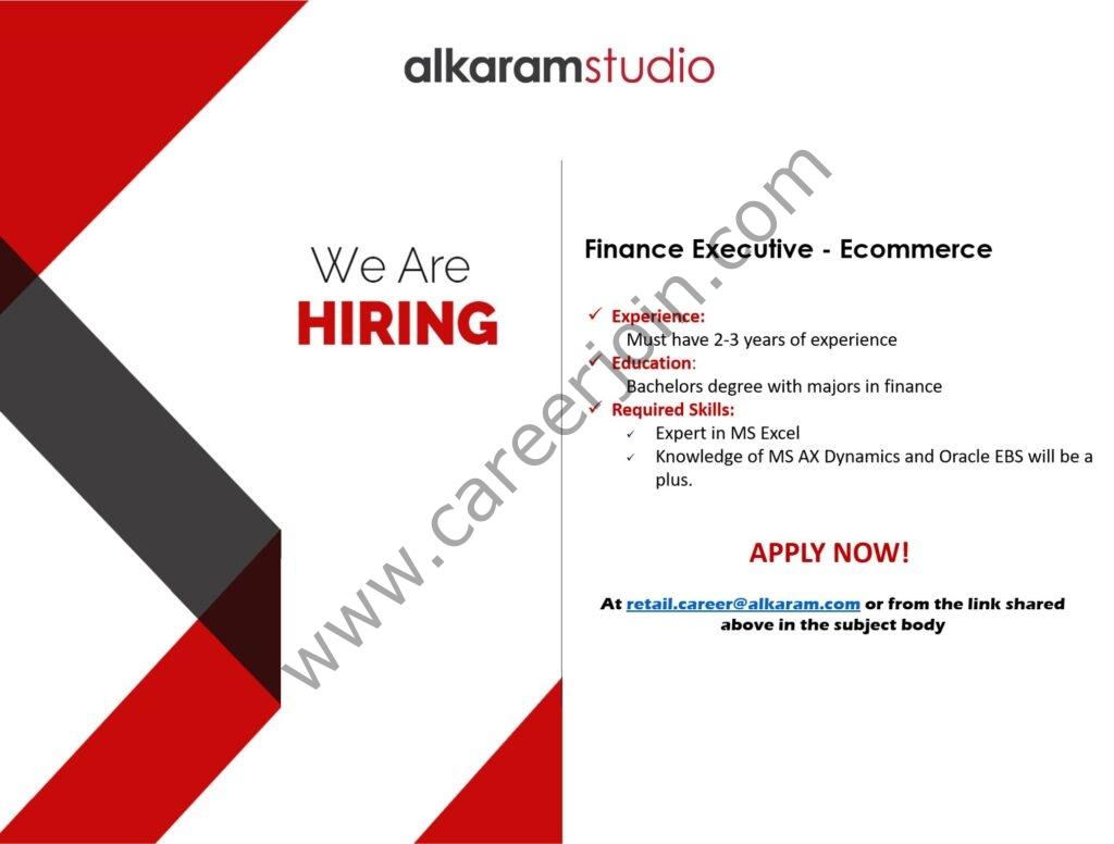 Alkaram Studio Jobs in Pakistan 2021 For Finance Executive Ecommerce Post - Apply via retail.career@alkaram.com