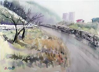 水彩画デモンストレーション 冬の川 湾曲した川と枯れ枝の桜