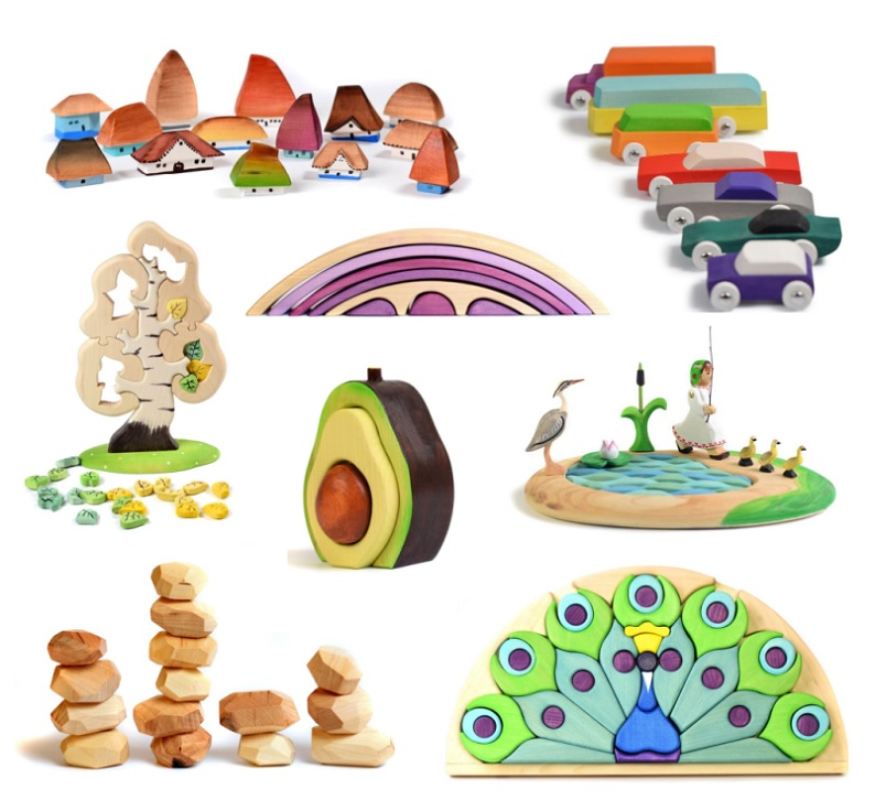 bumbu toys wooden stackers, puzzles and small world items