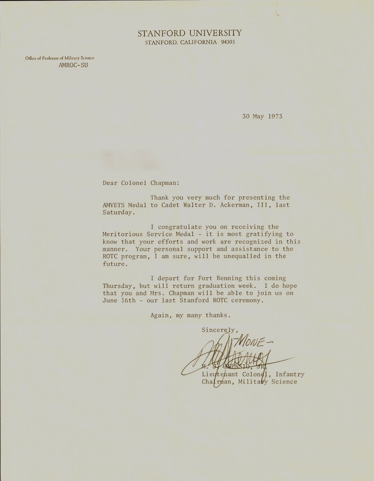Stanford Rejection Letter Rotc at stanford university