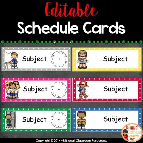 Editable Tarjetas de Horario- Editable Schedule Cards