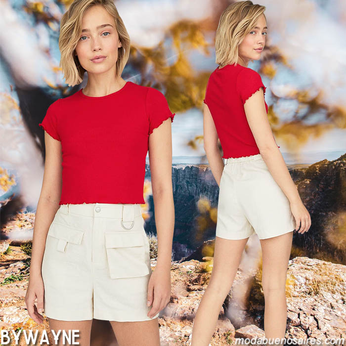 Remeras y shorts primavera verano 2020 de mujer.