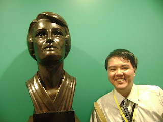 The writer with a bust of Ayn Rand, 2018