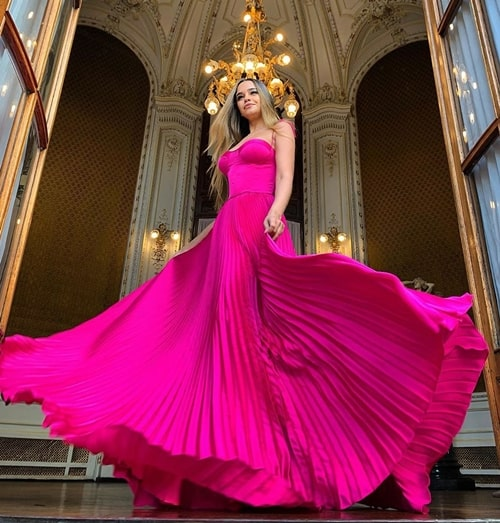 vestido longo pink plissado